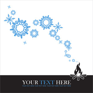 Abstract Vector Illustration Of Fire And Snowflakes.