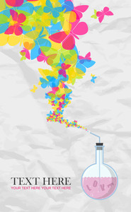 Abstract Vector Illustration Of Flask And Butterflies On A Paper-background.