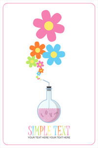 Abstract Vector Illustration Of Flask And Flowers.