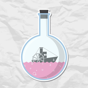 Abstract Vector Illustration Of Flask With Steamship.