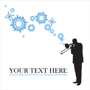 Abstract Vector Illustration Of Jazz Maker And Snowflakes.