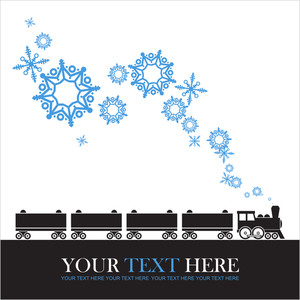 Abstract Vector Illustration Of Locomotive And Snowflakes.