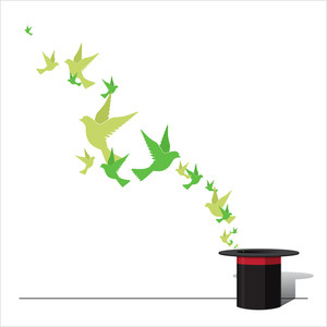Abstract Vector Illustration Of Magic Hat And Birds.