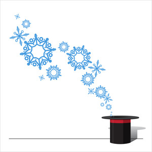 Abstract Vector Illustration Of Magic Hat And Snowflakes.