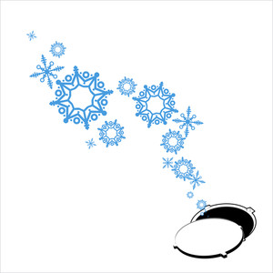 Abstract Vector Illustration Of Manhole And Snowflakes.