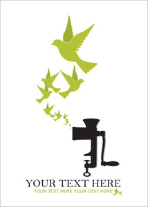 Abstract Vector Illustration Of Meat-grinder And Birds.