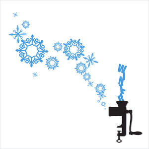 Abstract Vector Illustration Of Meat-grinder And Snowflakes.