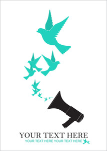 Abstract Vector Illustration Of Megaphone And Birds.