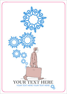 Abstract Vector Illustration Of Men With Travel Bag And Snowflakes.
