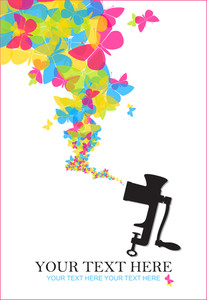 Abstract Vector Illustration Of Old Meat-grinder And Butterflies.