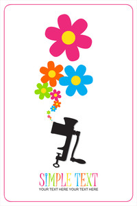 Abstract Vector Illustration Of Old Meat-grinder And Flowers.