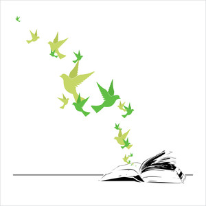 Abstract Vector Illustration Of Opened Book And Birds.