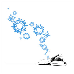 Abstract Vector Illustration Of Opened Book And Snowflakes.