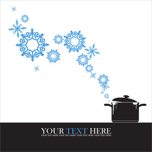 Abstract Vector Illustration Of Pan  And Snowflakes.