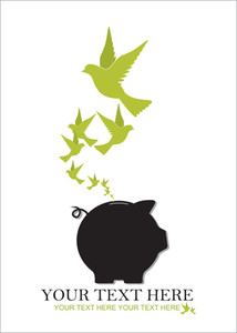 Abstract Vector Illustration Of Piggy Bank And Birds.