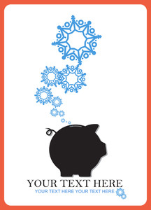 Abstract Vector Illustration Of Piggy Bank And Snowflakes.
