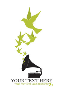 Abstract Vector Illustration Of Retro Gramophone  And Birds.