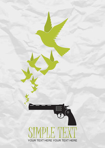 Abstract Vector Illustration Of Revolver And Birds.