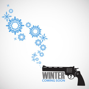 Abstract Vector Illustration Of Revolver And Snowflakes.