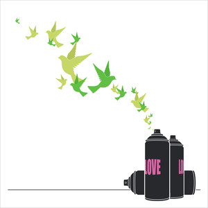 Abstract Vector Illustration Of Spray Can And Birds.