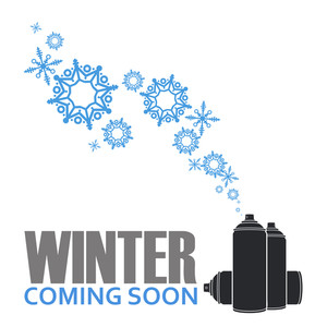 Abstract Vector Illustration Of Spray Can And Snowflakes.