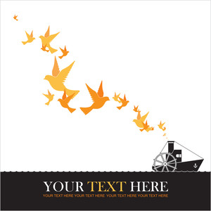 Abstract Vector Illustration Of Steamship And Birds.