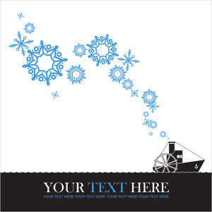 Abstract Vector Illustration Of Steamship And Snowflakes.