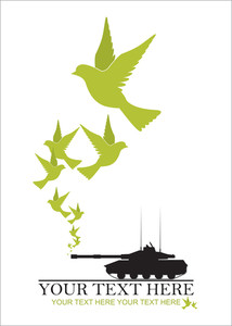 Abstract Vector Illustration Of Tank And Birds.