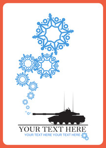 Abstract Vector Illustration Of Tank And Snowflakes.