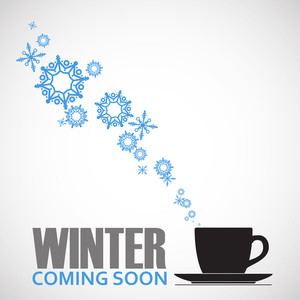 Abstract Vector Illustration Of Tea Cup And Snowflakes.