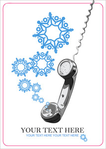 Abstract Vector Illustration Of Telephone And Snowflakes.