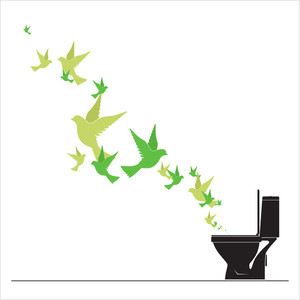 Abstract Vector Illustration Of Toilet Bowl And Birds.