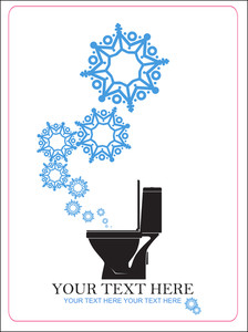 Abstract Vector Illustration Of Toilet Bowl And Snowflakes.