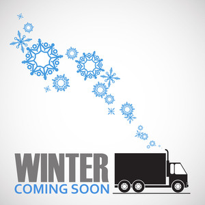 Abstract Vector Illustration Of Trakc And Snowflakes.