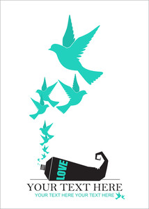 Abstract Vector Illustration Of Tube  And Birds.