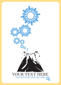 Abstract Vector Illustration Of Volkano  And Snowflakes.