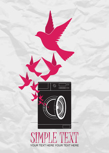 Abstract Vector Illustration Of Washing Machine And Birds.