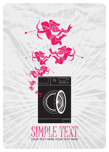 Abstract Vector Illustration Of Washing Machine And Cupids.