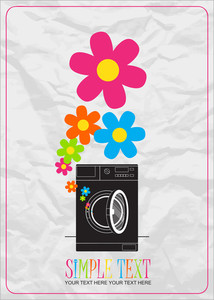 Abstract Vector Illustration Of Washing Machine And Flowers.