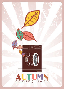 Abstract Vector Illustration Of Washing Machine And Leafs