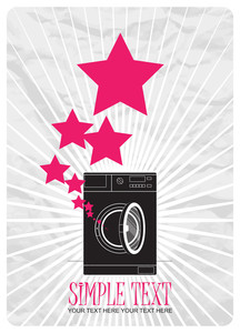 Abstract Vector Illustration Of Washing Machine And Stars.
