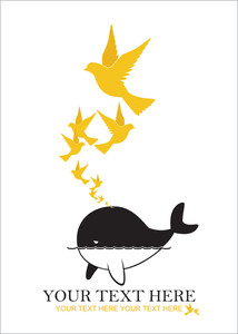 Abstract Vector Illustration Of Whale And Birds.