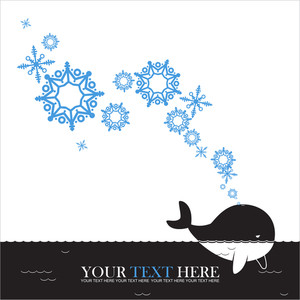 Abstract Vector Illustration Of Whale And Snowflakes.