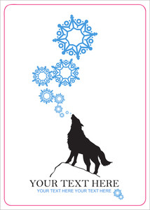 Abstract Vector Illustration Of Wolf And Snowflakes.