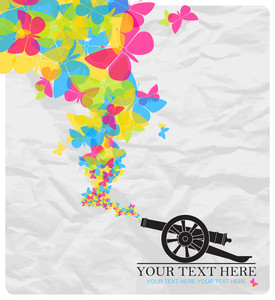 Abstract Vector Illustration With Ancient Artillery Gun And Butterflies.