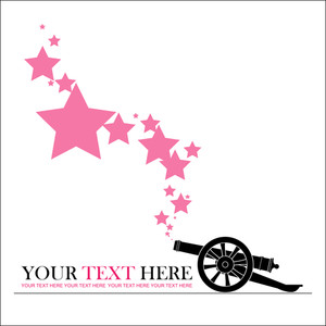 Abstract Vector Illustration With Ancient Artillery Gun And Stars.
