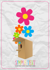 Abstract Vector Illustration With Birdhouse And Flowers. Eps 10