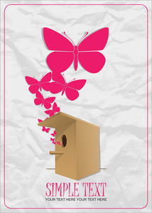 Abstract Vector Illustration With Birdhouse And Hearts. Eps 10