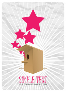Abstract Vector Illustration With Birdhouse And Stars. Eps 10