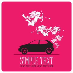 Abstract Vector Illustration With Car And Cupids.